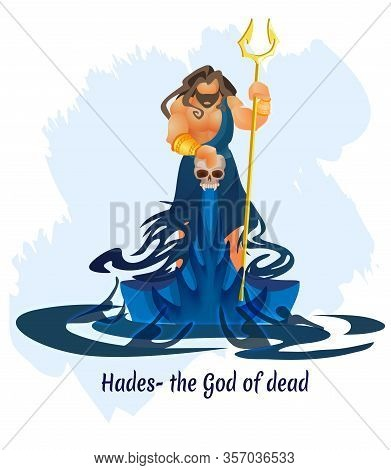Ancient Greek Underworld God, King Of Dead Hades Or Aidis Composition With Bearded Long Haired Muscu