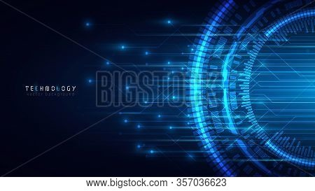 Blue Abstract Technology Vector Background,virtual Reality Communication Network Cyberspace Business