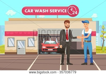 Automobile Cleaning Service Cartoon Illustration. Auto Detailing. Happy Businessman Shaking Hand To