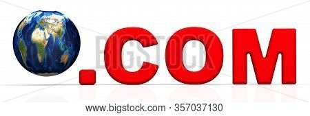 International Domain .com. The Domain Name .com And Globe On White Surface. 3d Illustration