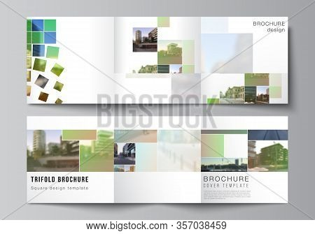 Vector Layout Of Square Format Covers Design Templates For Trifold Brochure, Flyer, Cover Design, Bo