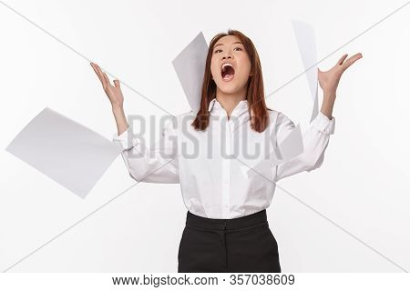 Career, Business And Women Concept. Portrait Of Angry Young Office Lady Losing Temper, Being Pissed-