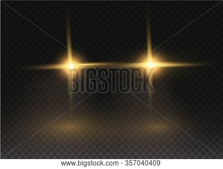 Car Flash Effect On A Transparent Background. Realistic Yellow Glow Round Headlights. Car Headlights