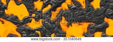 Lava Hot- Background Magma. Volcano- Eruption Pattern. Abstract Texture- Landscape Erupt. 3d Illustr