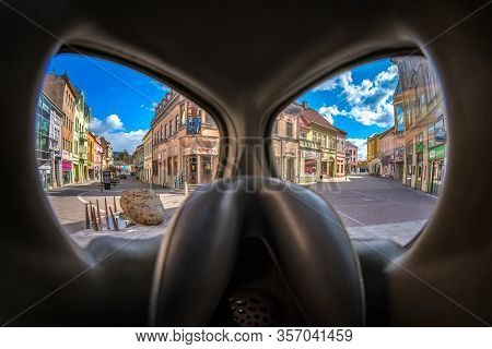 Ruzomberok, Slovakia - March 22: View Through Protective Face Mask On Empty Town. Covid-19 Stay At H