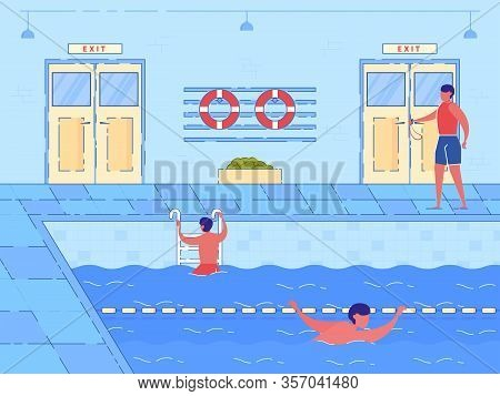 Indoor Swimming Pool Interior. Cartoon Male Swimmer Sportsman In Lane, Trainer On Pool Side Vector I
