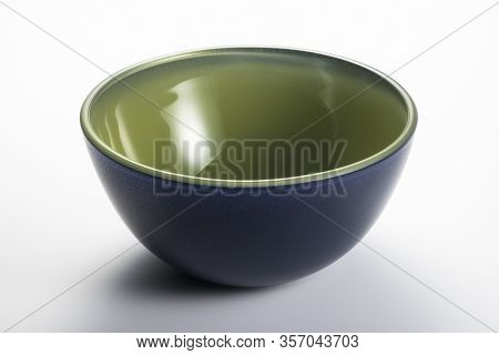 Empty Blue And Green Bowl Isolated On The White Background With Clipping Path