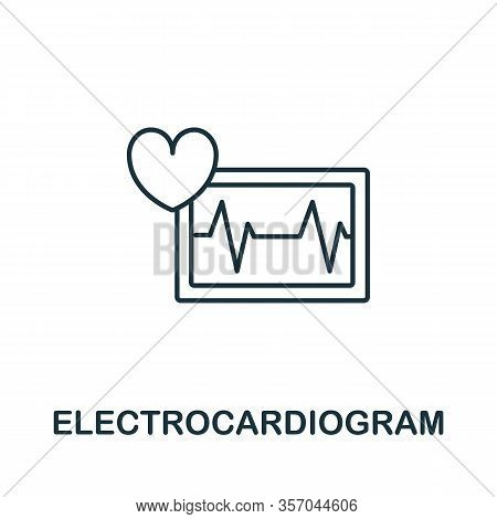 Electrocardiogram Icon From Health Check Collection. Simple Line Electrocardiogram Icon For Template