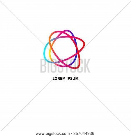 Business Logo, Abstract Modern Icon In Shape Of Ellips, Modern Tech Sign, Creative Idea, Color Vecto