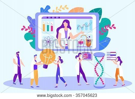 Flat Vector Illustration Remote Laboratory Work. Chemistry Lessons E-learning. People Repeat After T