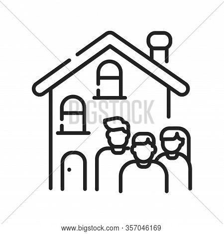 Rent A House For Family Allowed With Children Black Line Icon. Temporary Use Of Property. Pictogram