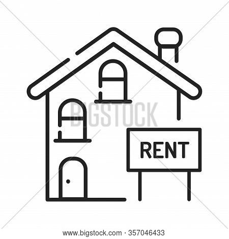 Rental Of Property Black Line Icon. An Agreement Where A Payment Is Made For The Temporary Use Of Pr