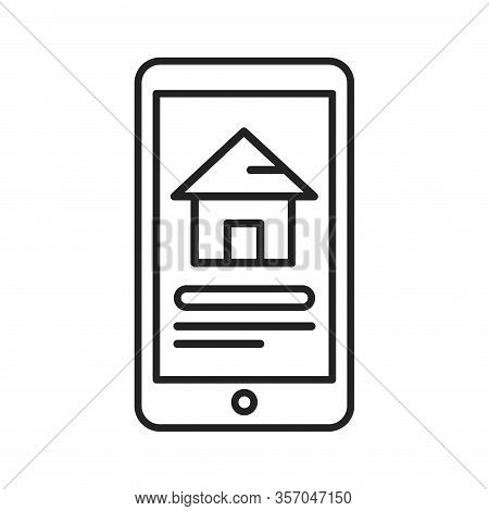 Reservation Of House On Smartphone Black Line Icon. Pictogram For Web Page, Mobile App, Promo. Ui Ux