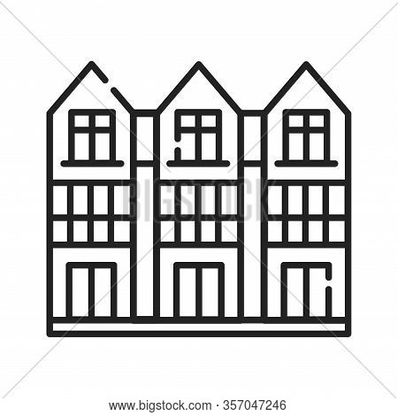 Townhouse Black Line Icon. View From The Cottage. Landscape Of The Surrounding. Pictogram For Web Pa