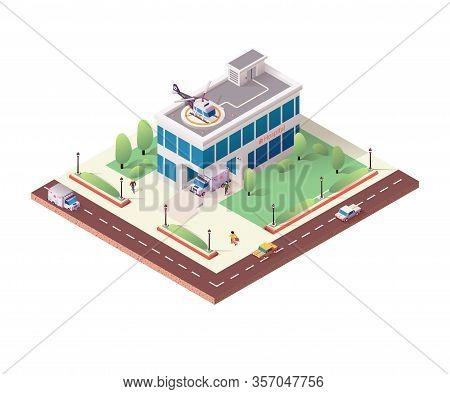 Isometric Hospital Building On White Background. Clinic Construction With Ambulances And Helicopter.