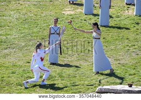 Olympic Flame Handover Ceremony For The Tokyo 2020 Summer Olympic Games At The Ancient Olympia