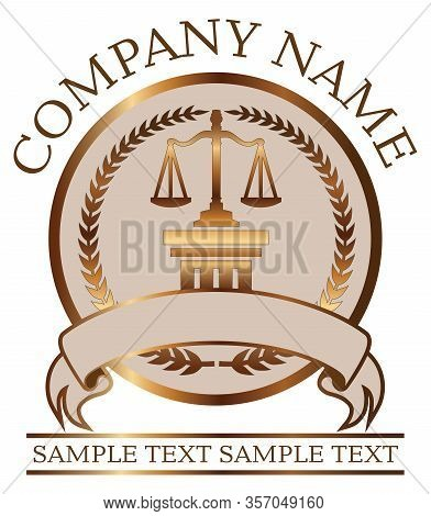 Law Or Lawyer Seal - Gold With Scales Of Justice And Doric Column Is An Illustration Of A Lawyer Or