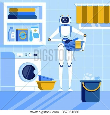 Home Automatization Cartoon Flat Vector Illustration. Robot Washing Clothing. Holding Bowl With Laun