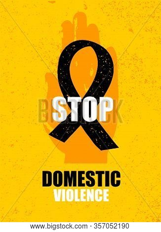 Domestic Violence Pop Art Banner On Yellow Background. Abstract Violence Domestic Halftone Vector Il