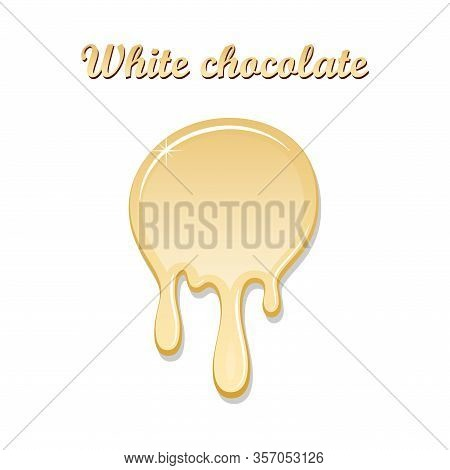 Chocolate Drip Splash. White Chocolate Liquid Blot Isolated White Background. Shape Melt Dessert Spo