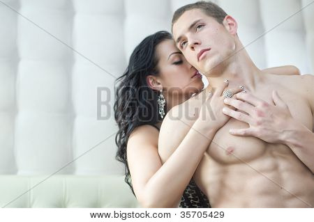 Sexy couple in romantic pose