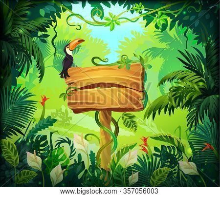Cartoon Jungle Background. Tropical Forest Nature Frame, Game Screen With Wooden Panel And Green Exo