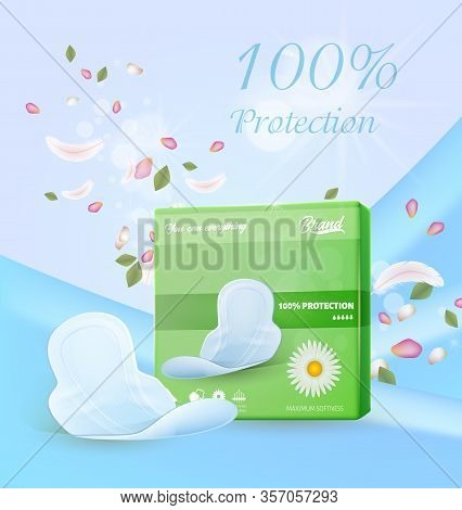 Ultra Protective Hygienic Chamomile Pads Advertisement. Realistic Green Pack And Single Feminine Hyg