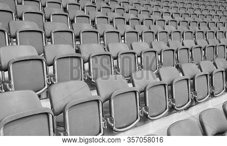 Empty Seats At The Stadium Without The Spectators Due To The Corona Virus Covid-19 And The Cancellat