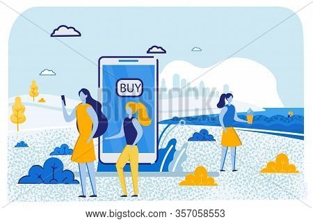 Woman With Little Daughter Using Mobile Phone For Buying Goods Online Mother With Girl Stand On Summ