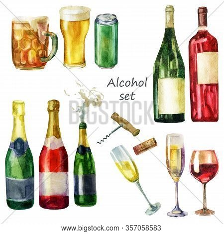 Watercolor Illustration Of A Set Of Alcoholic Drinks. A Mug Of Beer, A Glass Of Beer, A Can Of Beer.