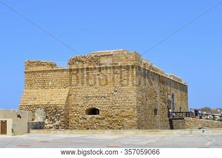 Paphos, Cyprus, Greece - June 4, 2018 : The Historical Paphos Castle In Paphos Harbour Cyprus