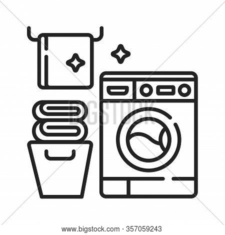 Laundry Room Black Line Icon. House Amenities Sign. Cleaning Service. Pictogram For Web Page, Mobile