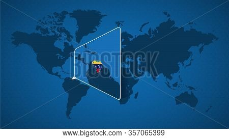 Detailed World Map With Pinned Enlarged Map Of Venezuela And Neighboring Countries. Venezuela Flag A