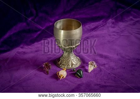 Tin Goblet And Four Dowsing Pendulums Ade Of Different Crystals - Symbol Fortune Telling