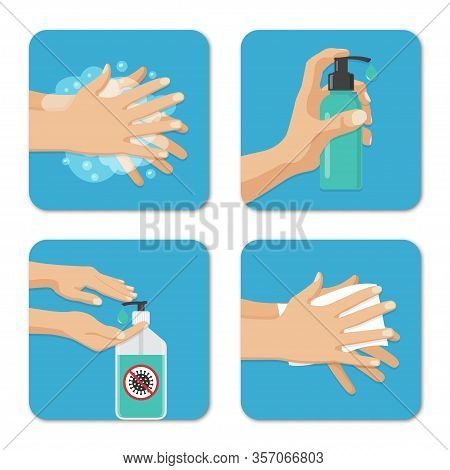 Hands Wash And Disinfection Backgrounds Set In A Flat Design. Preventive Measures Against Coronaviru