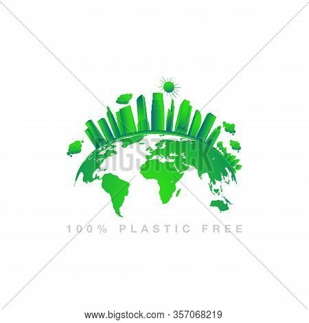Green Earth Concept Design. Earth Planet Health Care, Sustainable Development Concept. Environmental
