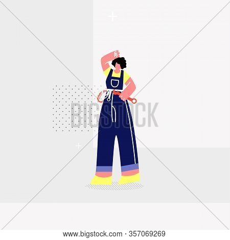 Female Plumber, Mechanic Flat Vector Illustration. Woman In Overalls With Tool Belt Cartoon Characte