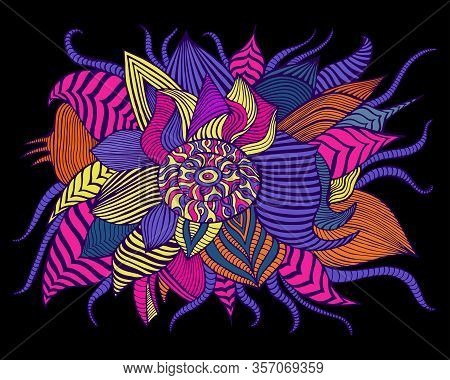 Variegated Surreal Flower, Isolated On Black Background. Psychedelic Stylish Card With Fantastic Flo