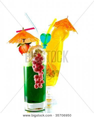 Row of colorful juices