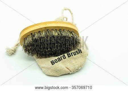 Bamboo Beard Brush With Natural Bristles On Its Case Care For The Beard. Concept Facial Care For Men
