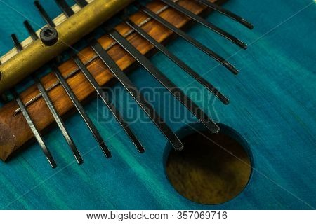 Close-up View Of The Keys On A Kalimba. Traditional African Instrument. Concept Music.
