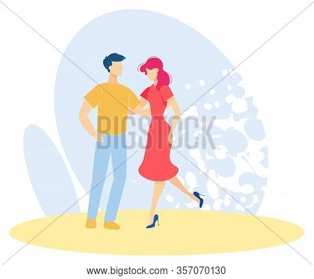 Informational Banner Couple In Love Cartoon Flat. Well-being And Familiar Comfortable State Married