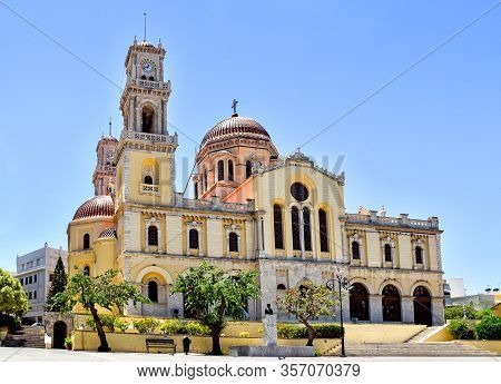 Minas Cathedral In Heraklion On The Island Of Crete In Greece