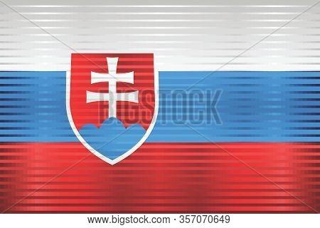 Shiny Grunge Flag Of The Slovakia - Illustration,  Three Dimensional Flag Of Slovakia