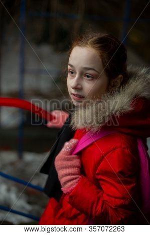 Portrait Of A Beautiful Nine Year Old Little Girl In Autumn. Girl 9 Years Old. Girl 9 Years Old Outd