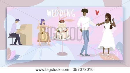Wedding Party. Bride And Groom Dancing In Restaurant With Live Music And Beautiful Bridal Cake In Ce