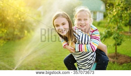 Adorable Little Girls Playing With A Sprinkler In A Backyard On Sunny Summer Day. Cute Children Havi
