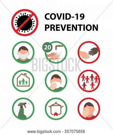 Coronavirus (covid-19 Or 2019-ncov) Infographic Showing Incubation, Prevention And Symptoms With Ico