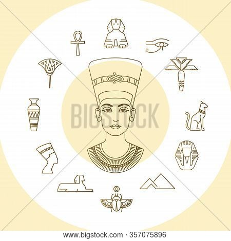 Set Of Vector Egypt Symbols Icons And Graphics Elements With Landmarks, Traditional Signs And Famous