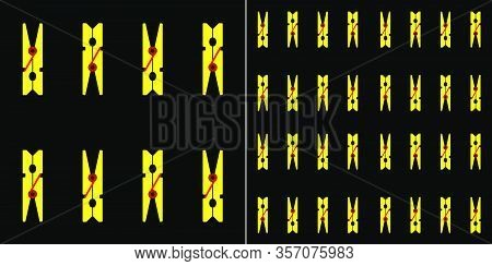 Seamless Pattern Of Yellow Clothespins On A Black Background